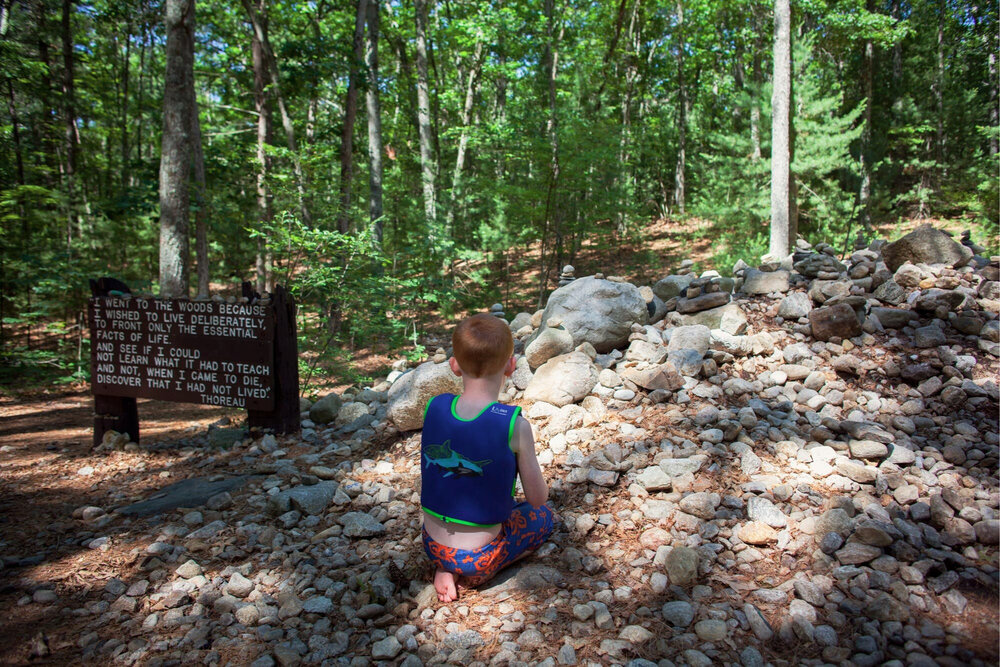 Eamon Duffy, 7 years old from Shrewsbury, MA plays in the rocks that mark the site of Thoreau's cabin. To the left etched in wood is probably the most famous quote from Thoreau's Walden.