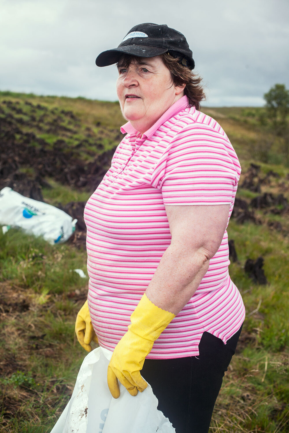 Bridie McKenna on the bog bagging turf, something she has done every summer for most of her life.