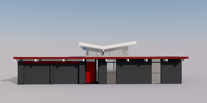One of the initial renderings presented to the clients to help them visualize the butterfly roof addition.