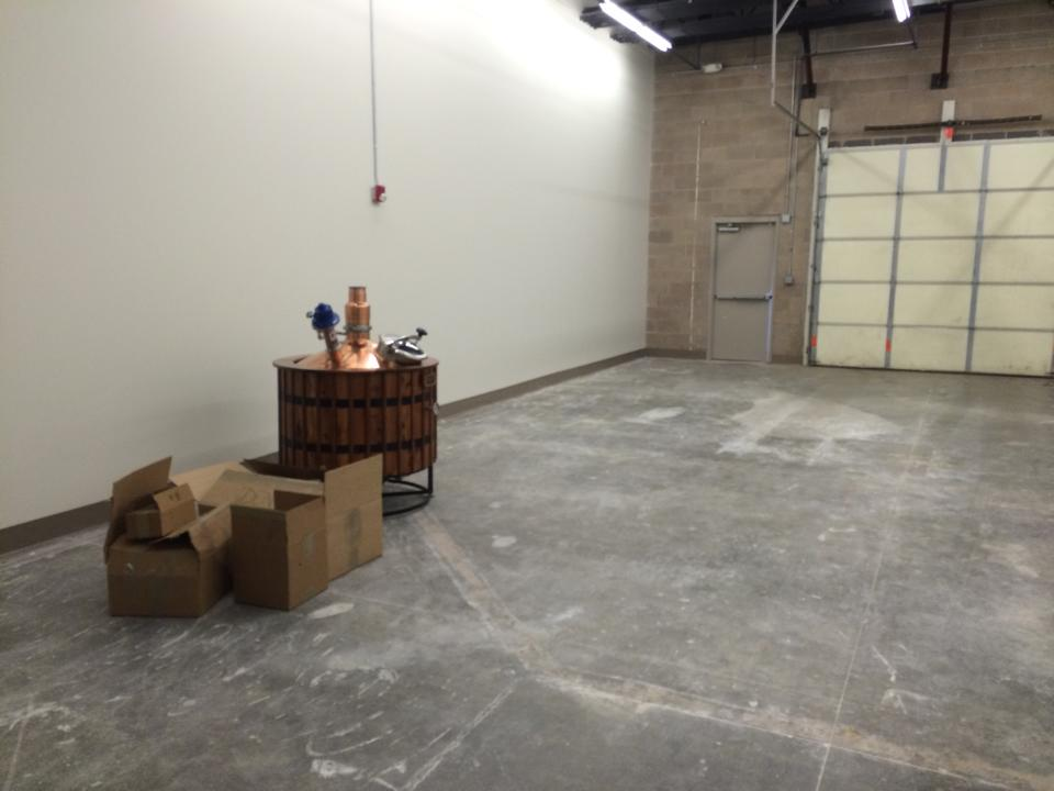 Anvil Distillery warehouse area as the first still came in