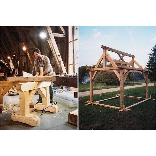 [Timber Framing and Log Cabin workshop in Ratnieki, Latvia.] ::: Last one. It turned out pretty nice. Plus, a tree could fall on it and it would still be standing! Also, had to sneak one of me in there since I'm on the other side of the camera in every other photo! ::: #timberframe #northmen #latvia #logcabin #handtoolsonly #film #ricohgr1 #portra400 #filmisnotdead #filmphotography