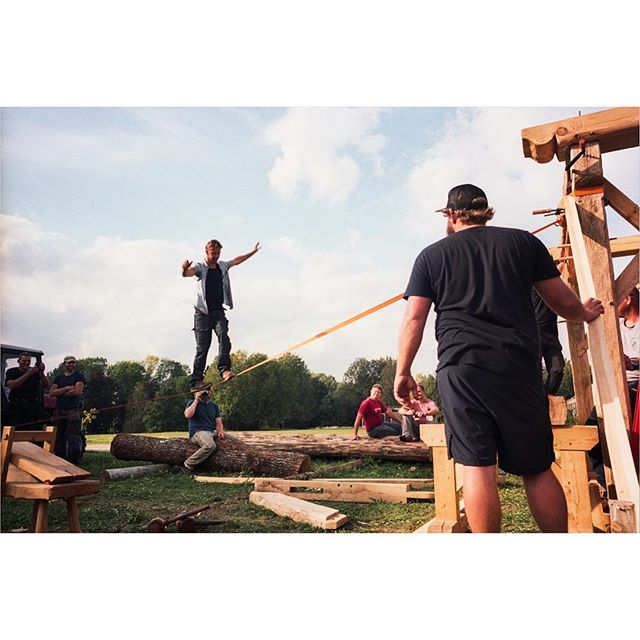 [Timber Framing and Log Cabin workshop in Ratnieki, Latvia.] ::: Francois helping us get the posts plum and level. ::: #timberframe #northmen #latvia #logcabin #handtoolsonly #film #ricohgr1 #portra400 #filmisnotdead #filmphotography