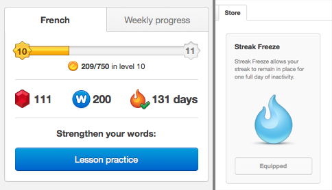 The Duolingo dashboard keeps track of your streak.   You can 'buy' a free day, but they are expensive.