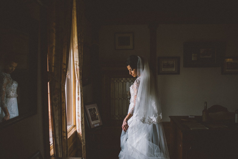 indoor bridal portrait