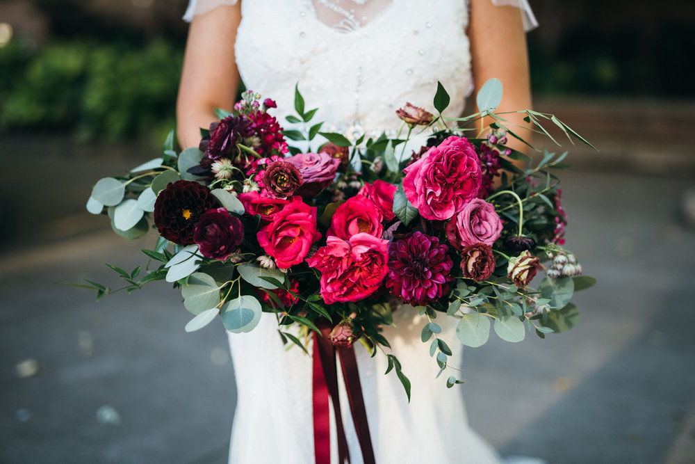 raspberry burgundy bouquet
