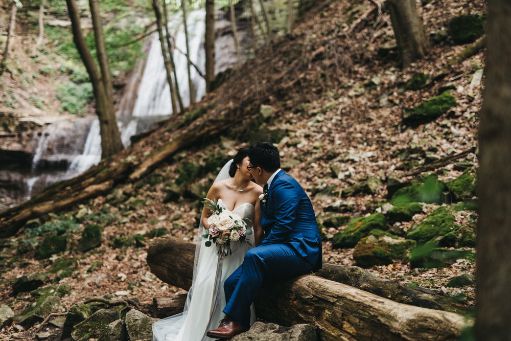 ancaster waterfall wedding photos