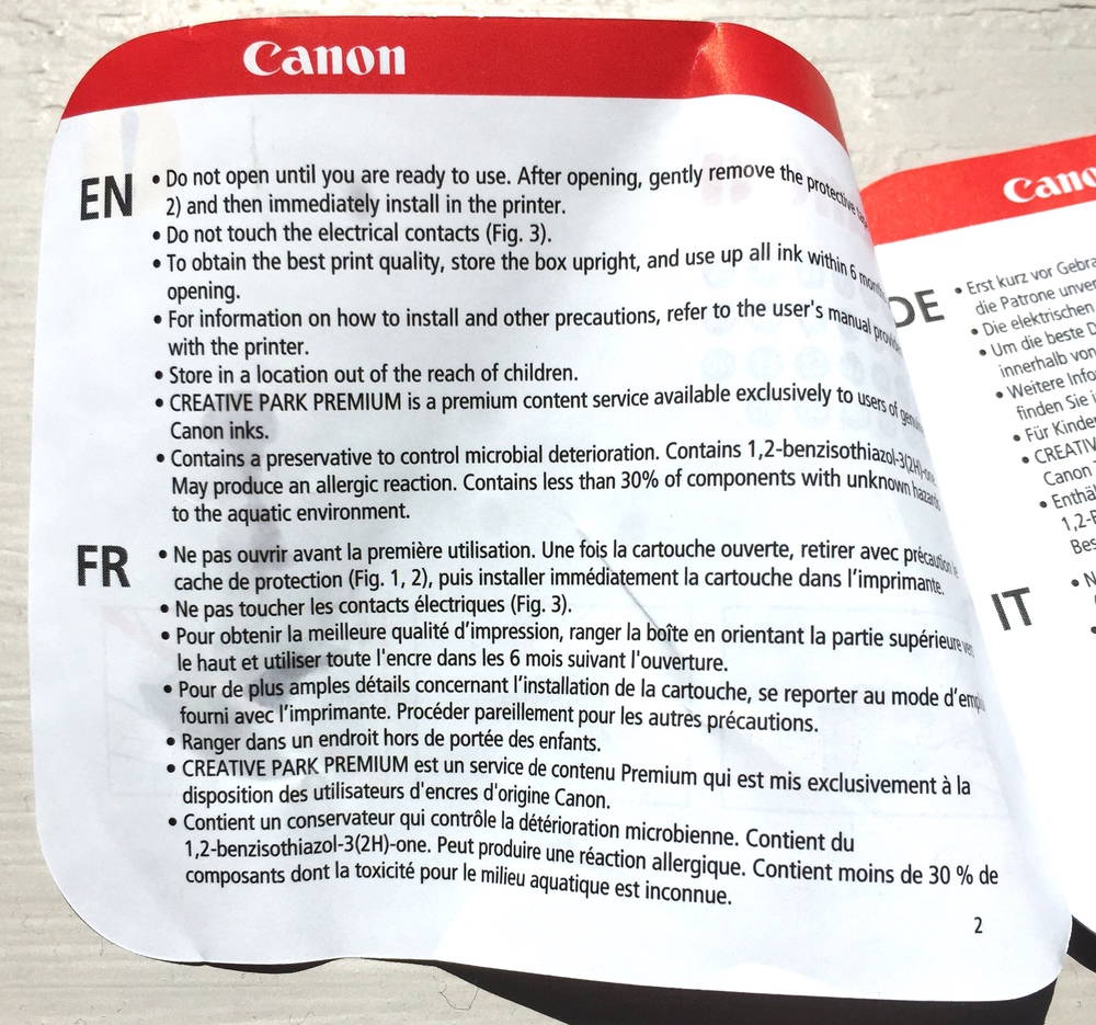 Canon instructions. Talk of chemicals, but not what to do about them.