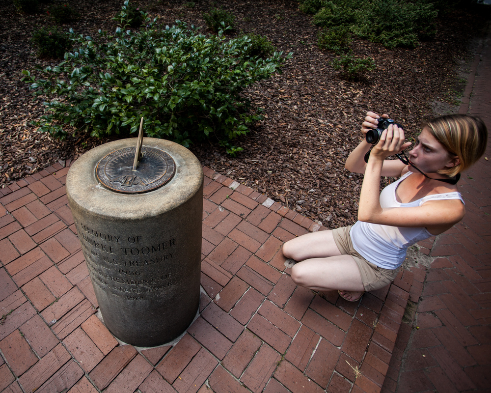 ©2014 Capturing Savannah - Clents on the tour_Chatham Square Sundial Historic Savannah, Ga
