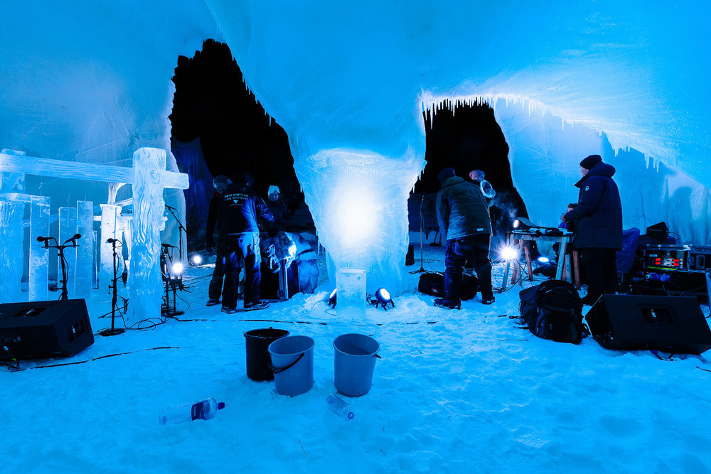 Behind the midnight concert Ice Music Festival stage in 2015. Photo: Emile Holba