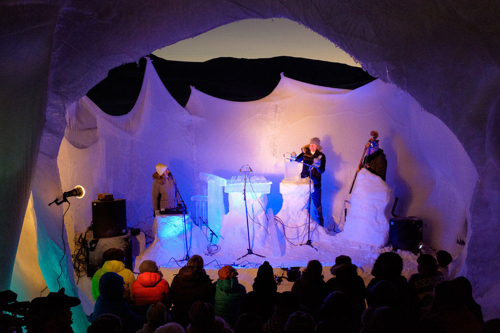 With the audience enclosed in an ice dome, the stage was open to the sky, offering incredible views of the sunsets...