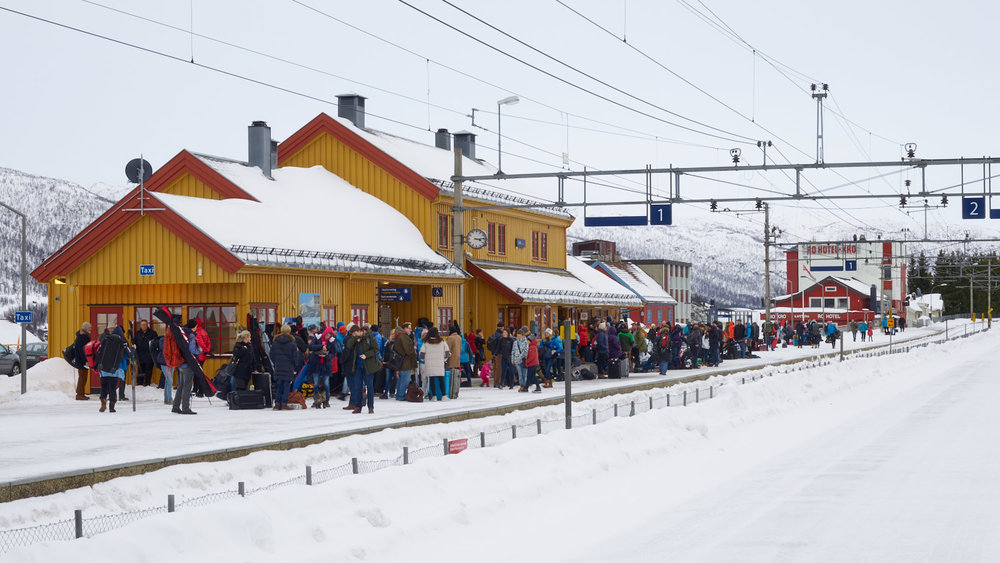 Geilo Station - always bustling for the next comfortable train to Bergen, via Finse!
