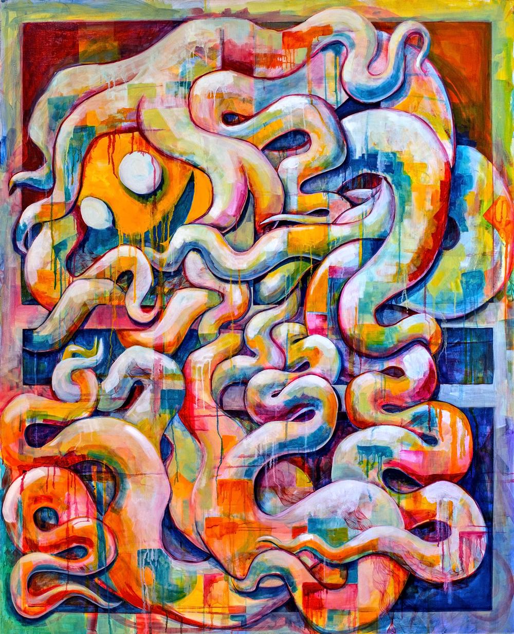 "Ego (2014)  52""x 64"" oil and acrylic on canvas"