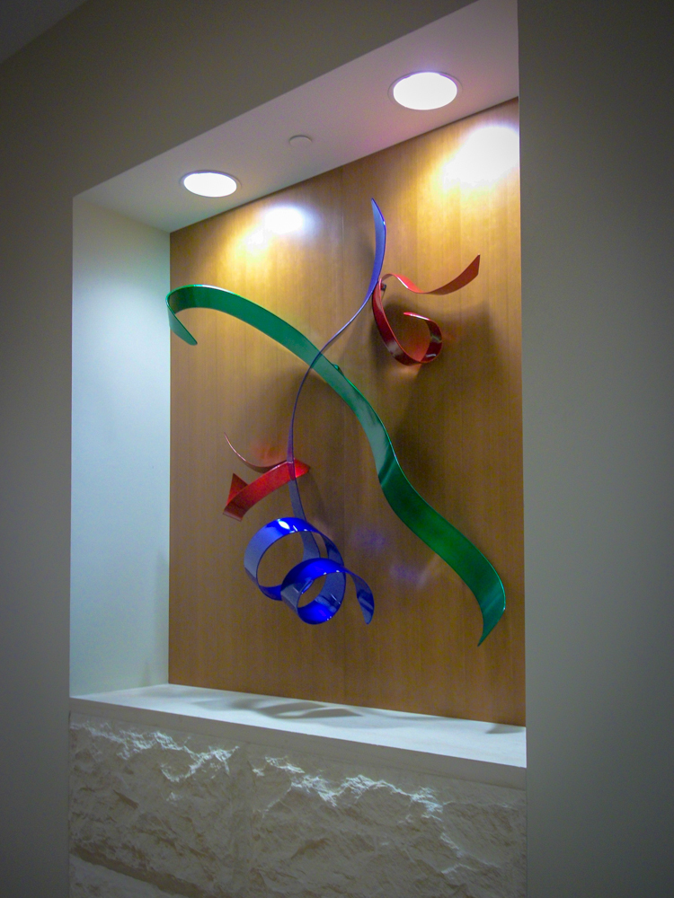 Art Dallas 3660 BCBS RIchardson 0808 Commissioned Powder Coated Metal Wall Sculpture