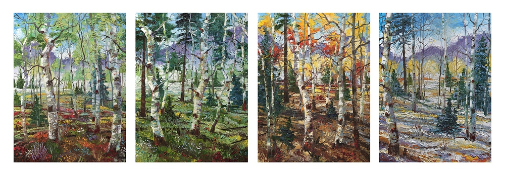 """The Evolving West"" 40"" x 120"":  4 panels of 40"" x 30"""