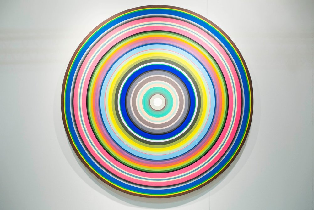 Gary Lang  Future Circle #2, 1998, Acrylic on Canvas, 84in.  Courtesy of Ace Gallery