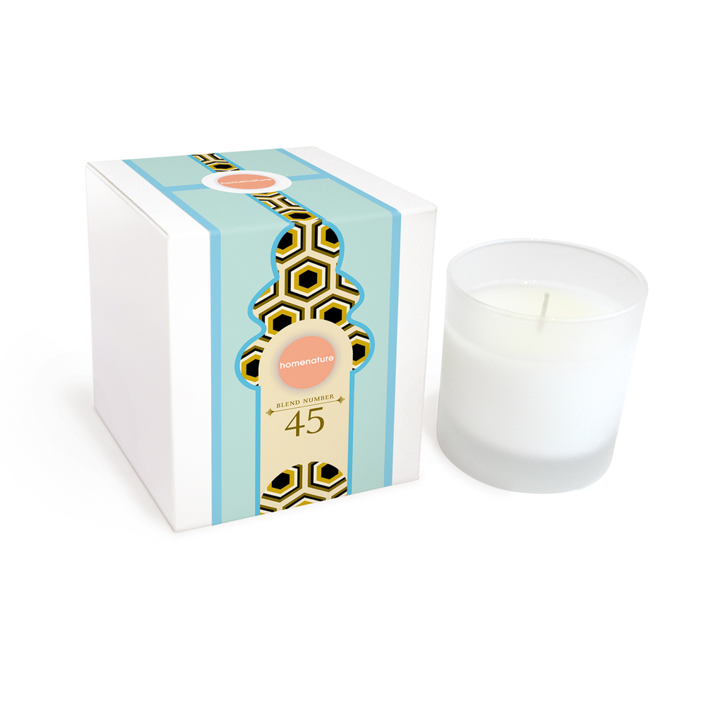 homenature inc. scented candle - blend no. 45 / positano, product and packaging