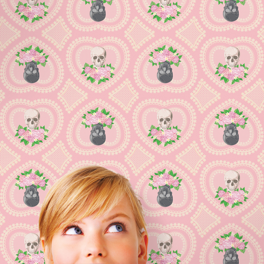 wallcandy arts peel and stick wallpaper - hearts and skulls pink