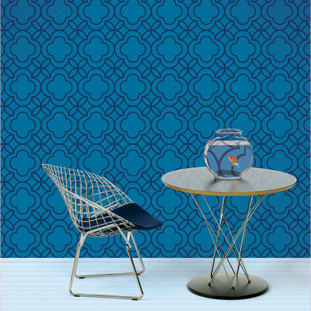 wallcandy arts peel and stick wallpaper - quatrefoil blue