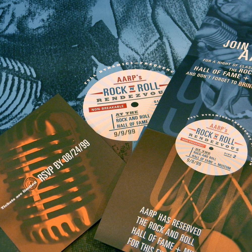 aarp & rock-n-roll hall of fame and museum - rock-n-roll rendezvous invitation and poster, detail