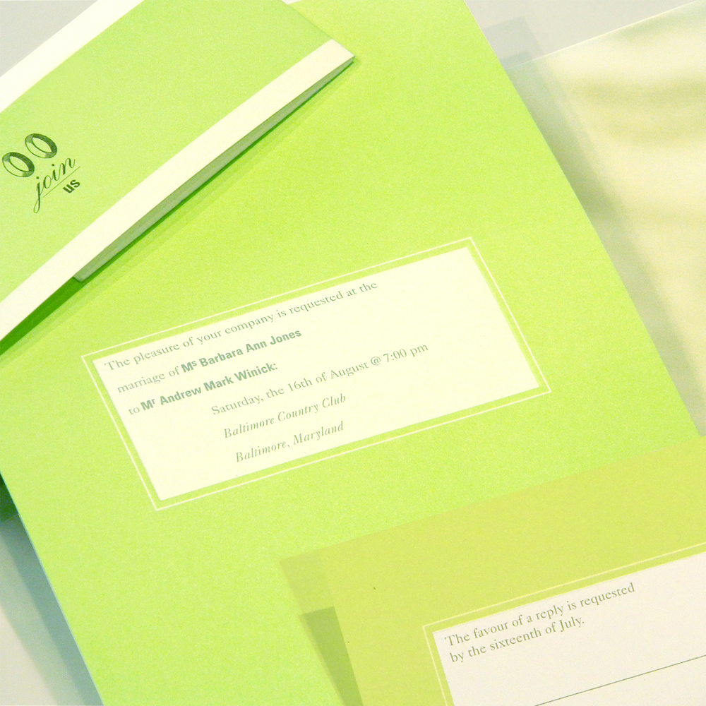 barbara and andrew winick wedding invitation, detail