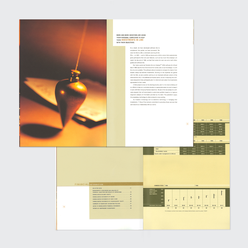 t. rowe price associates annual report, interior spreads