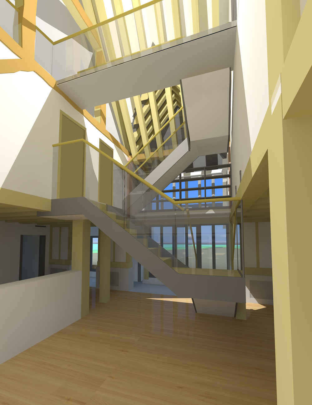 Computer render of early staircase proposal