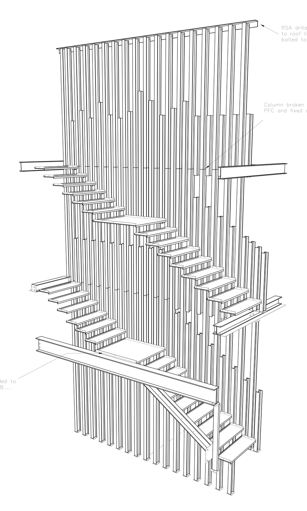 3d steel manufacture drawing for main staircase courtesy of Larkins Engineering Ltd