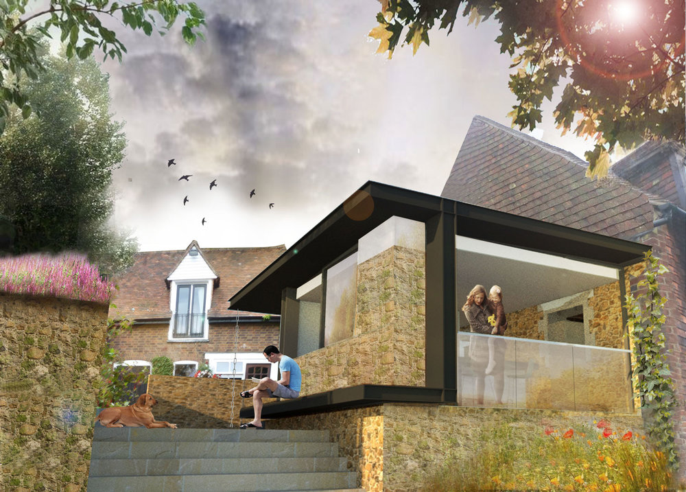 Frog Hole Farm Creation of contemporary kitchen extension to Grade II listed farmhouse.