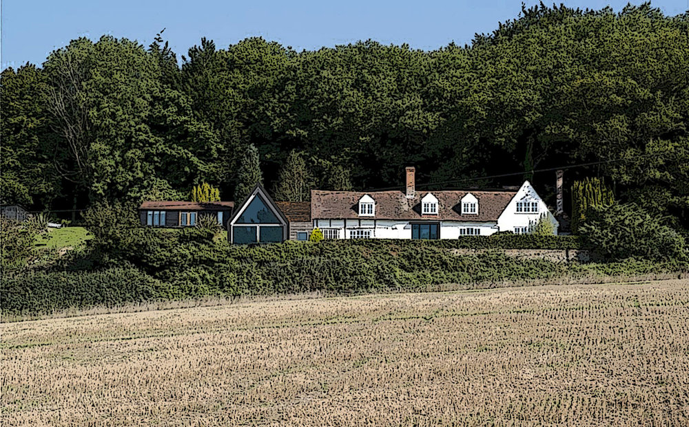 The White Cottage, Nr. Plaxtol.   Contemporary extension and remodel of house in rural context.