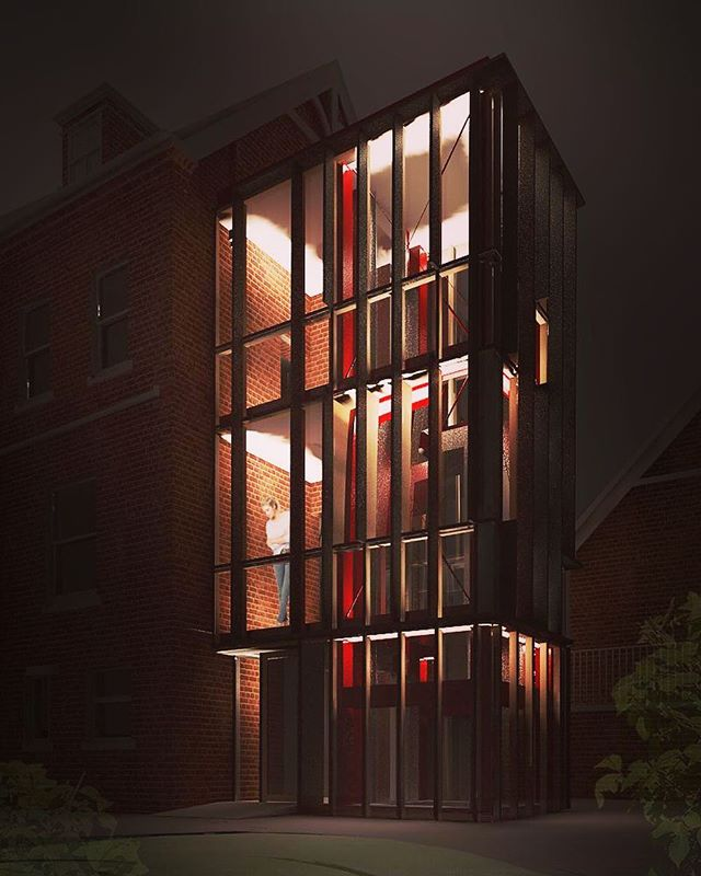 AV Architects were commissioned in 2017 to design a contemporary lift tower to allow for wheelchair access to three levels of an elegant Victorian house located in a #tonbridge conservation area. . The design balances the need for visual permeability to the landscape beyond, the inherent vertical aesthetic of a lift, relationship to the streetscape and host building. . Planning was granted for the design in October 2018 to the delight of our clients and AV Architects. . #glass #metalframing #lift #refurbishment #design #architecture #bespoke #kent #uk