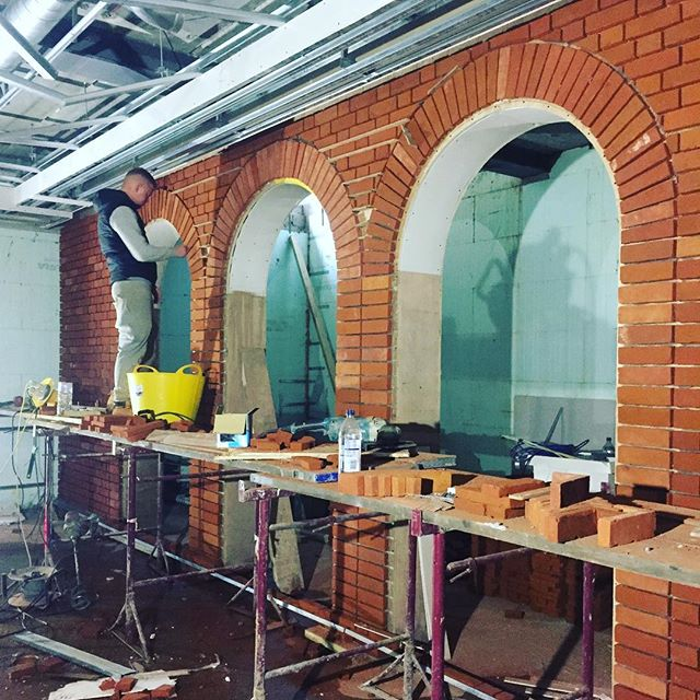 Great to see brickwork in woodlands entertainment space taking shape #architecture #interiors #kent #uk