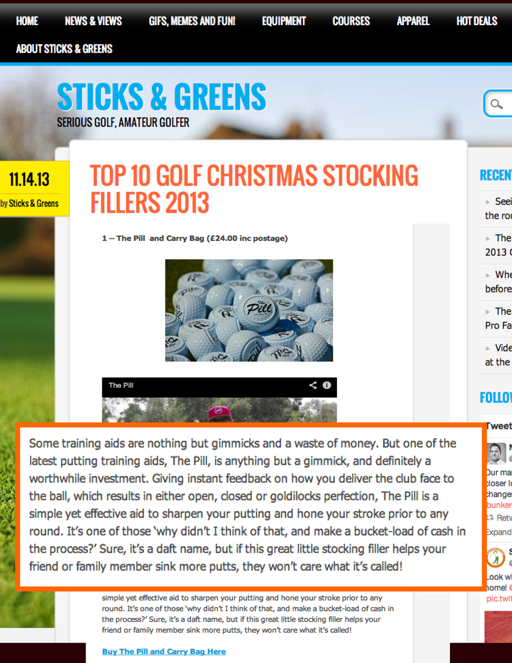 "View: Sticks & Greens ""Top 10 Golf Christmas Stocking Fillers"""