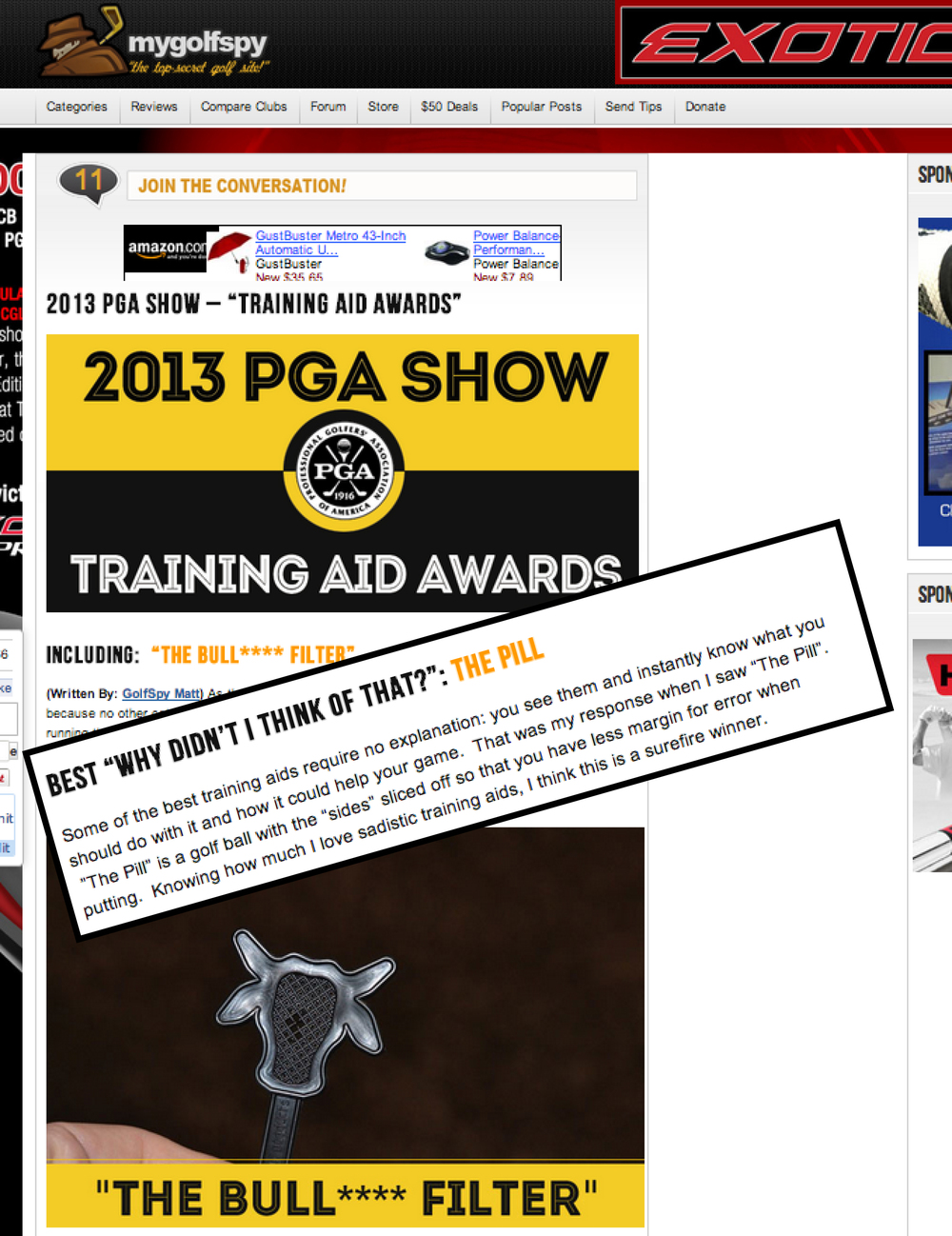 "View:  My Golf Spy ""2013 PGA Training Aid Awards"""