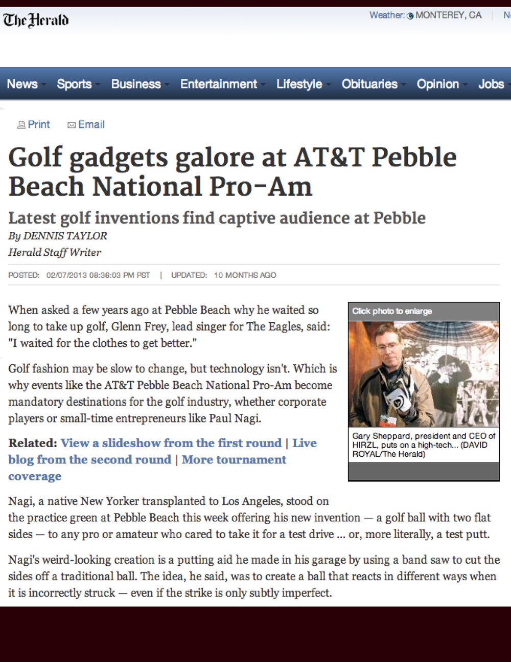 "View: Herald ""Golf Gadgets at AT&T Pebble Beach Pro-Am"""