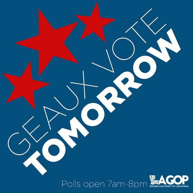 Election Day is tomorrow here in Louisiana! Voters will be voting statewide for Treasurer and there are various Constitutional Amendments to consider. Don't miss your chance to be a voter!