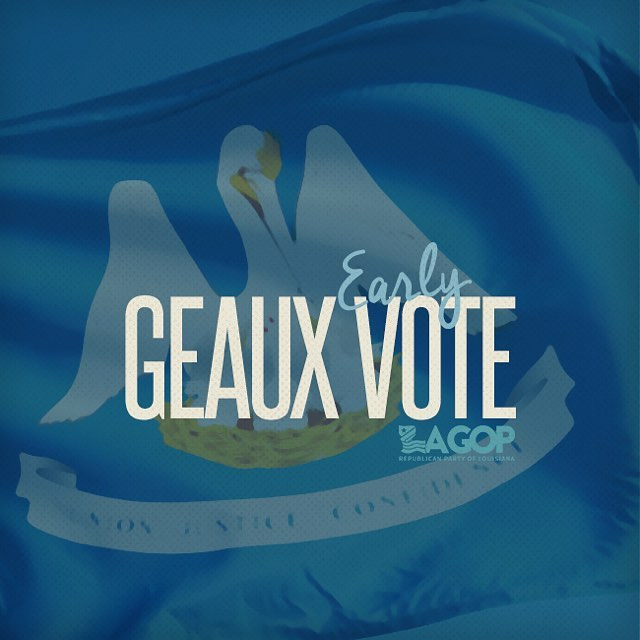 DON'T MISS OUT! Early voting for the November 18, 2017 election begins today and continues through November 11, 2017 from 8:30 a.m. - 6:00 p.m., excluding Sunday and state holidays.  #GEAUXVOTE