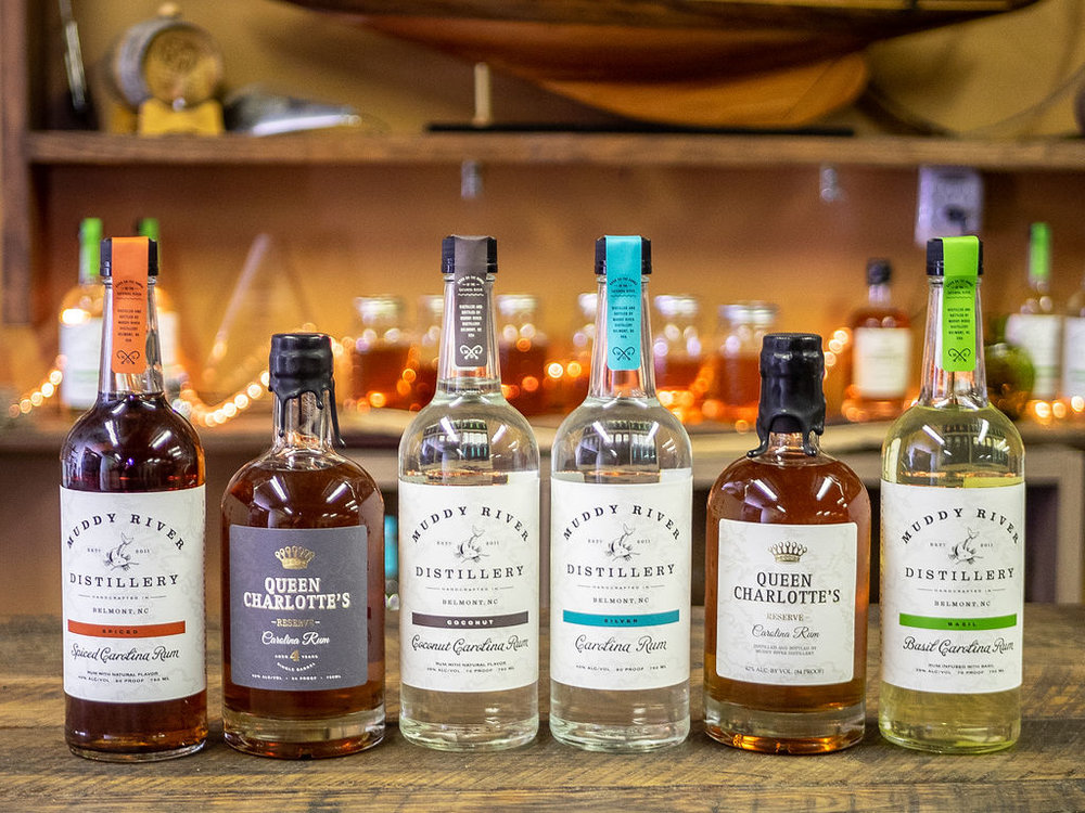 Muddy River products are available in NC ABC, SC liquor stores & at the distillery! -