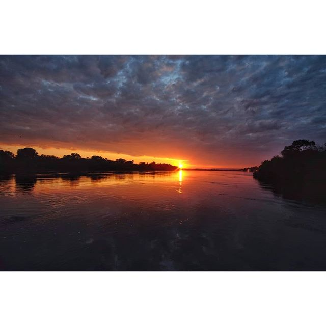 Sunrise on the Mighty Zambezi. . . . #fishinglife #flyfishing #tigerfishing #zambeziriver #azambeziriverlodge #tigerfishingzambezi #sunrise #reflection #fujifilm #12mmf2 #samyang12mm #xt1 #travelphotography