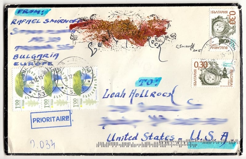 The envelope sent by the dealer - a piece of artwork in itself. Notice my name in the middle upper portion written in an arch, covered by melted wax and glitter and his signature and date to the right. Not to mention the three wax seals on the front on the envelope holding it closed. Beautiful. :)