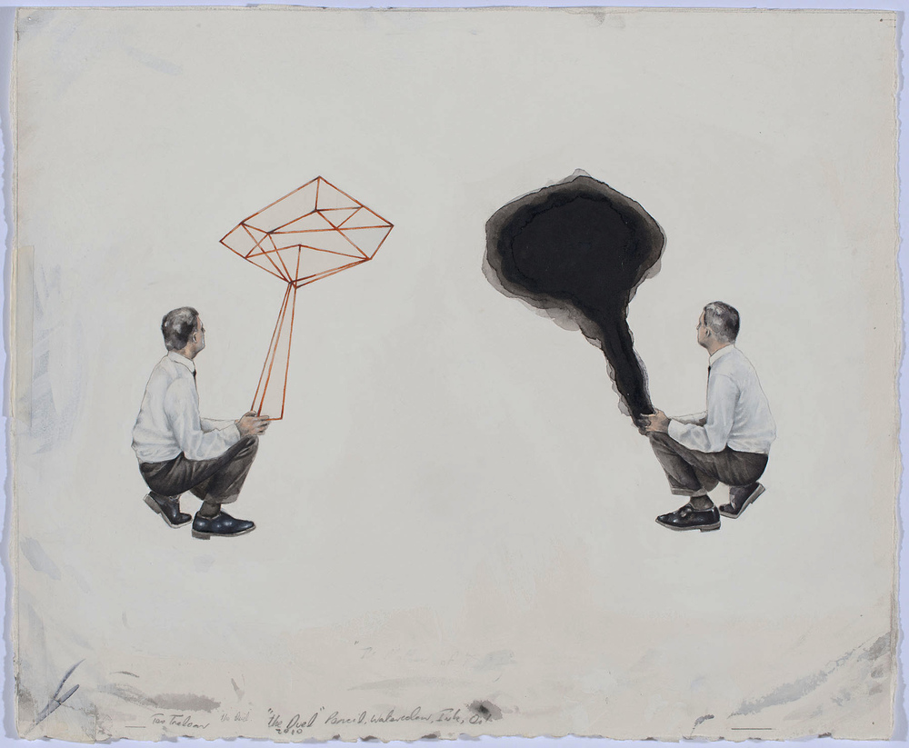 """The Science """"The Duel""""  2012, 370x450mm  pencil and watercolour on Arches paper."""