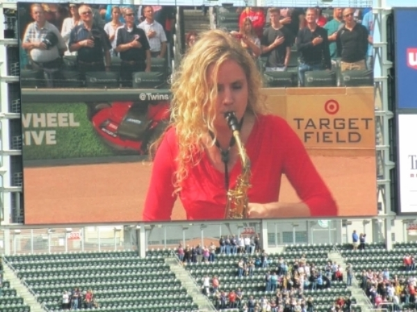 Sunday, September 20,2015    After two years and countless hours of practice, I finally got to play the National Anthem for a Minnesota Twins vs. Los Angeles Angels baseball game. It was a surreal experience playing for 25,000 people on home plate. After playing, the umpire came up to me and handed me a game ball. You know what they say, hard work does pay off.