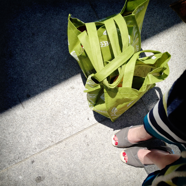 Feet with reusable bag groceries