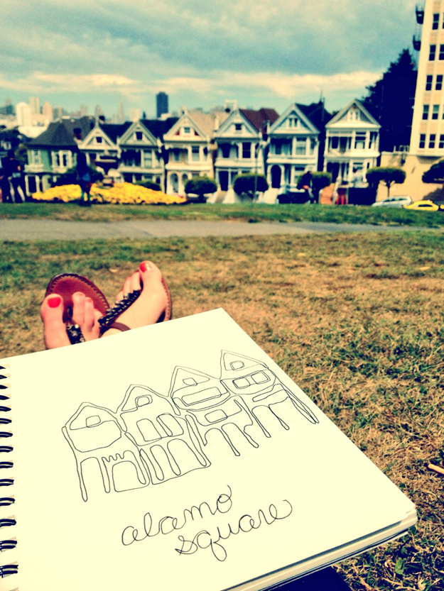 Alamo Square: Continuous Line Drawing