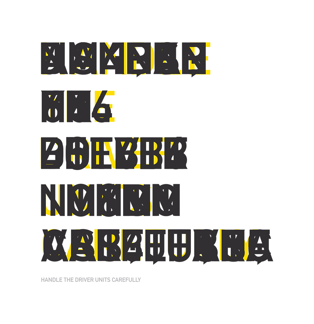 """The end result of the combined letterforms from the grass keyboard with the phrase """"Handle the driver units carefully"""" in yellow for comparison."""