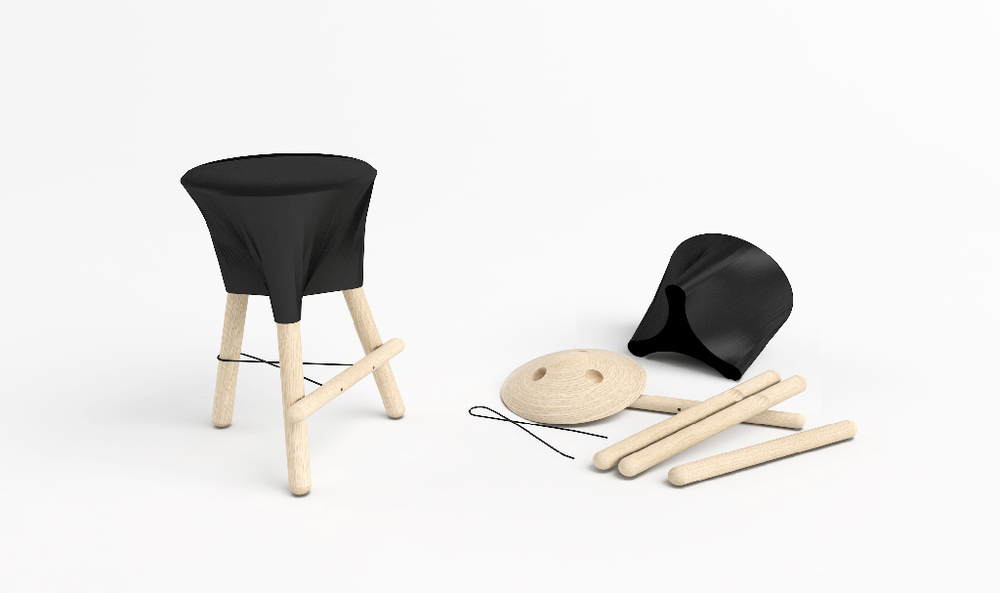 Render image of the Tubabu stool for Nani Marquina. Render by Sergi Vich