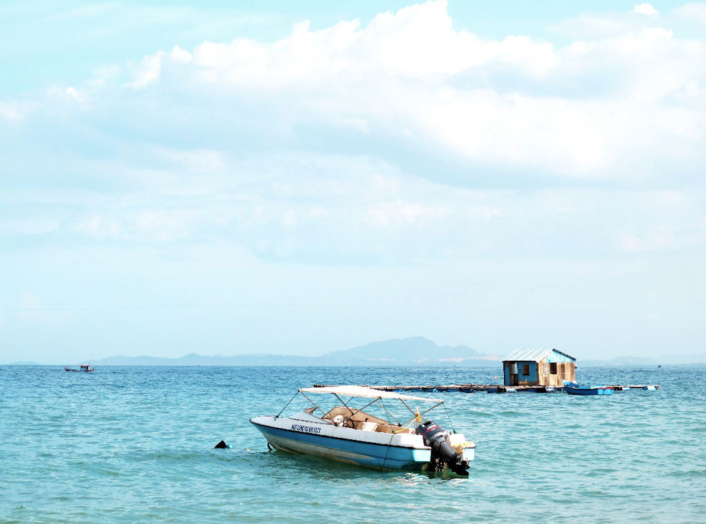 Floating house fish trap on a blue see of #vietnam / sergivich.com