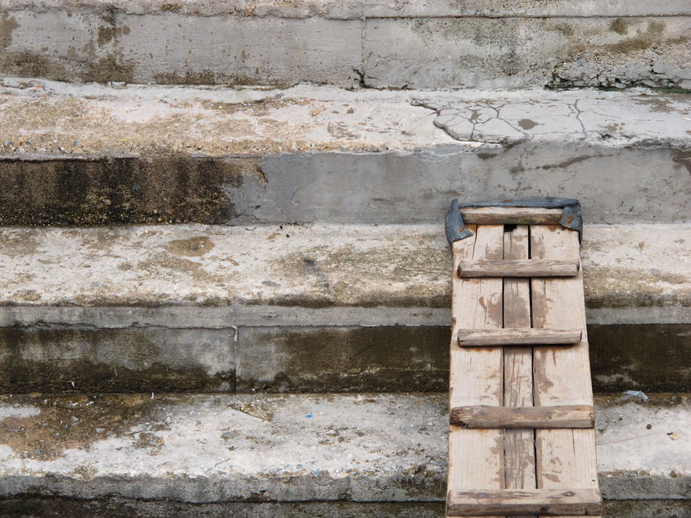 Concrete stairs with a boat wood gateway in #vietnam / sergivich.com