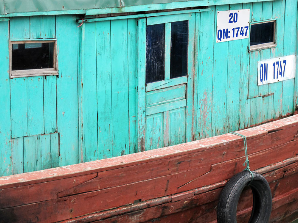 Boat painted in beautiful colors: blue turquoise and red #vietnam / sergivich.com