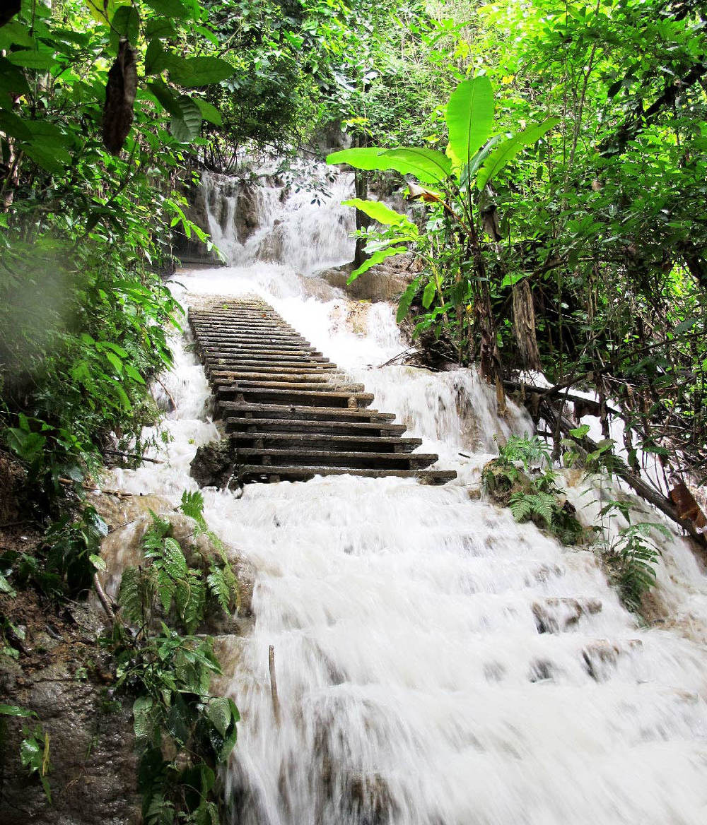 Staircase in the middle of a waterfall sorrounded by nature #laos / sergivich.com