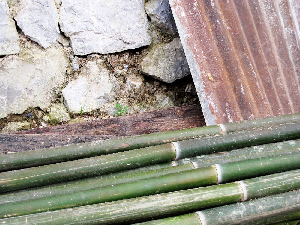 Grey stones, old metal and green bamboo. Collection of textures #laos / sergivich.com